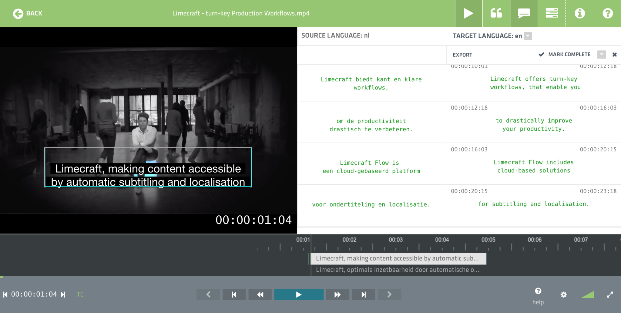 Screenshot of Limecraft Flow used for localisation of content by adding translated subtitles